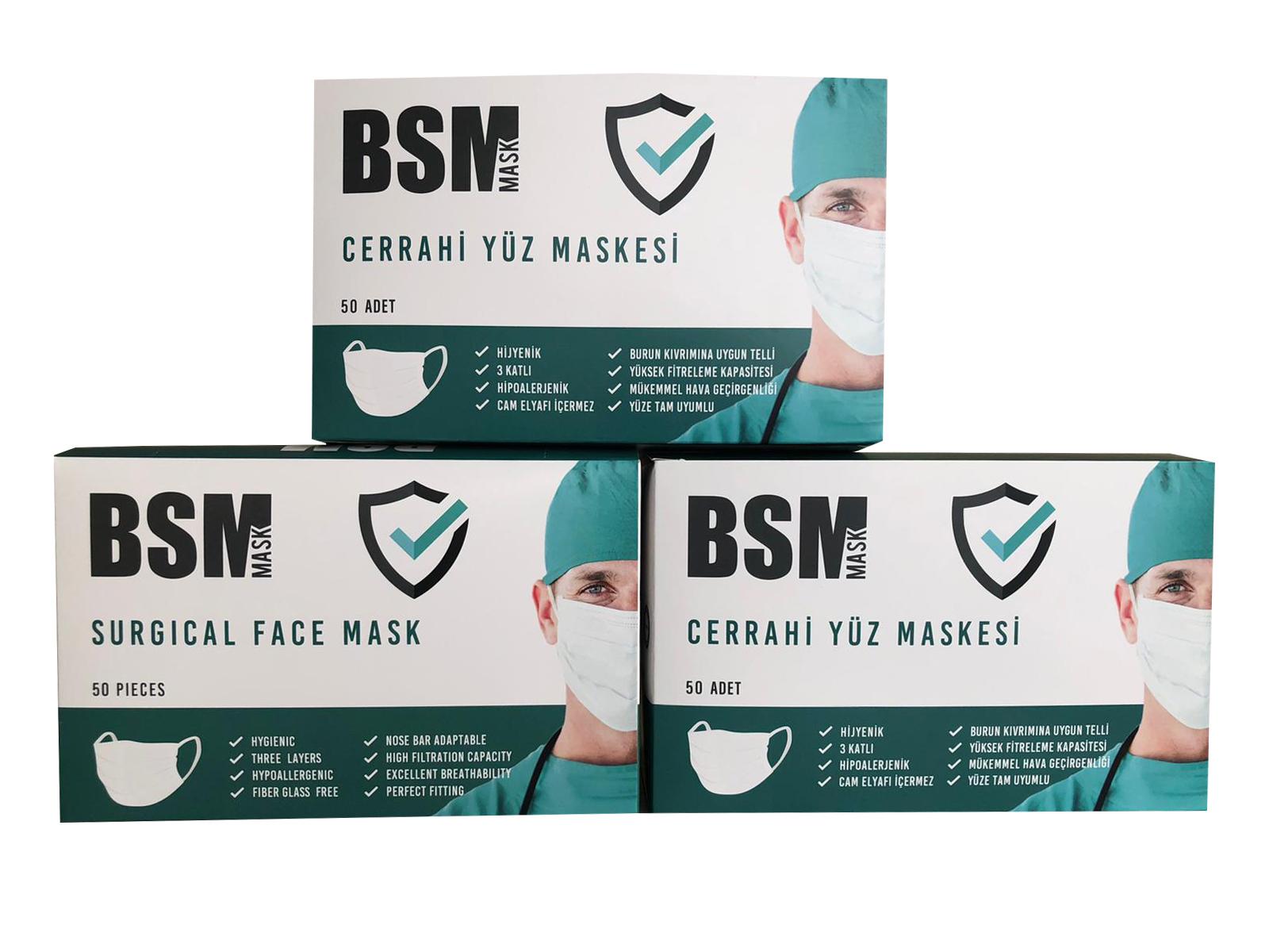 BSM YEŞİL 3 Katlı Yassı Lastikli Cerrahi Maske Toplam 150 Adet