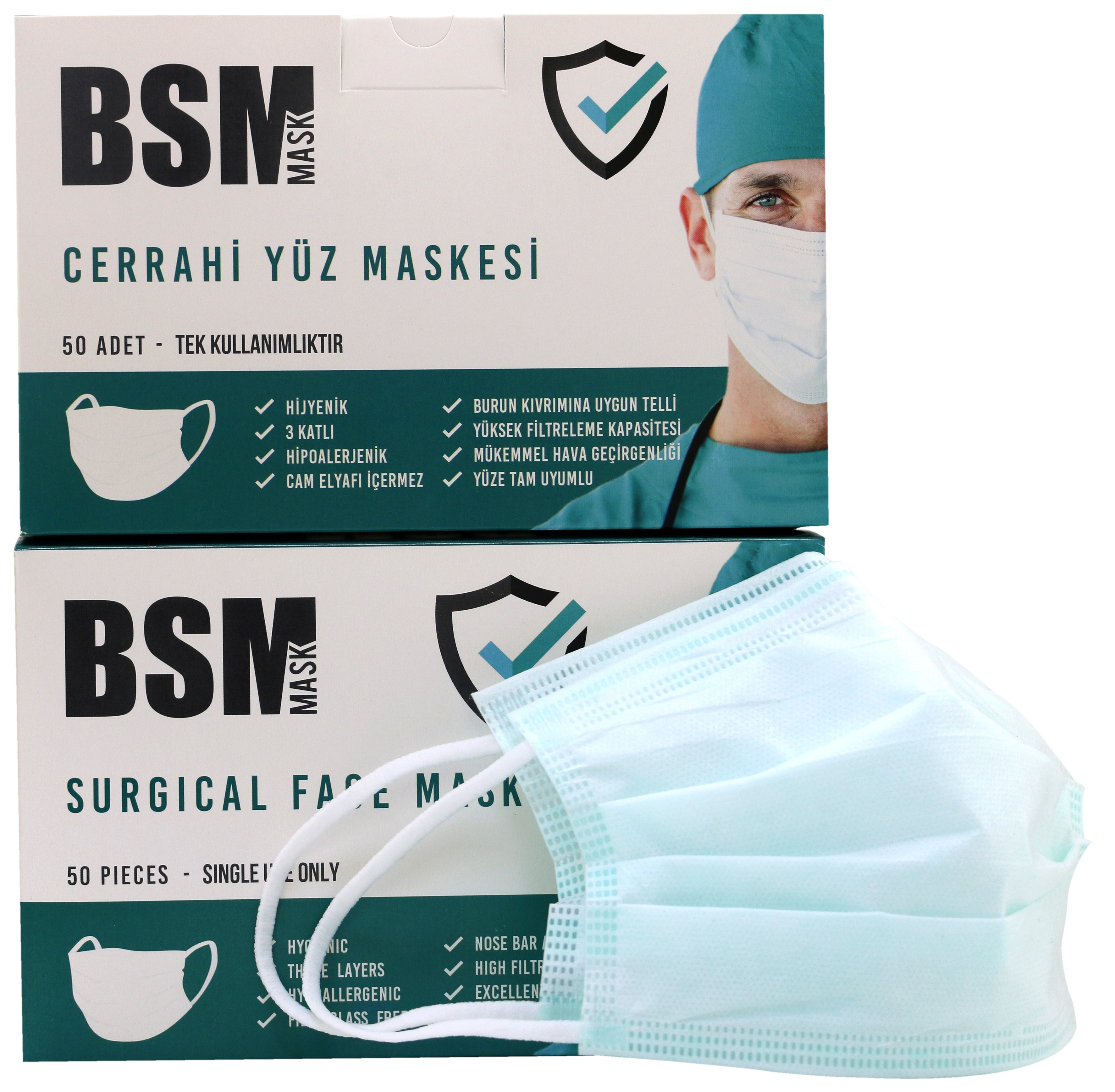 BSM YEŞİL 3 Katlı Yassı Lastikli MELTBLOWN Cerrahi Maske Toplam 100 Adet
