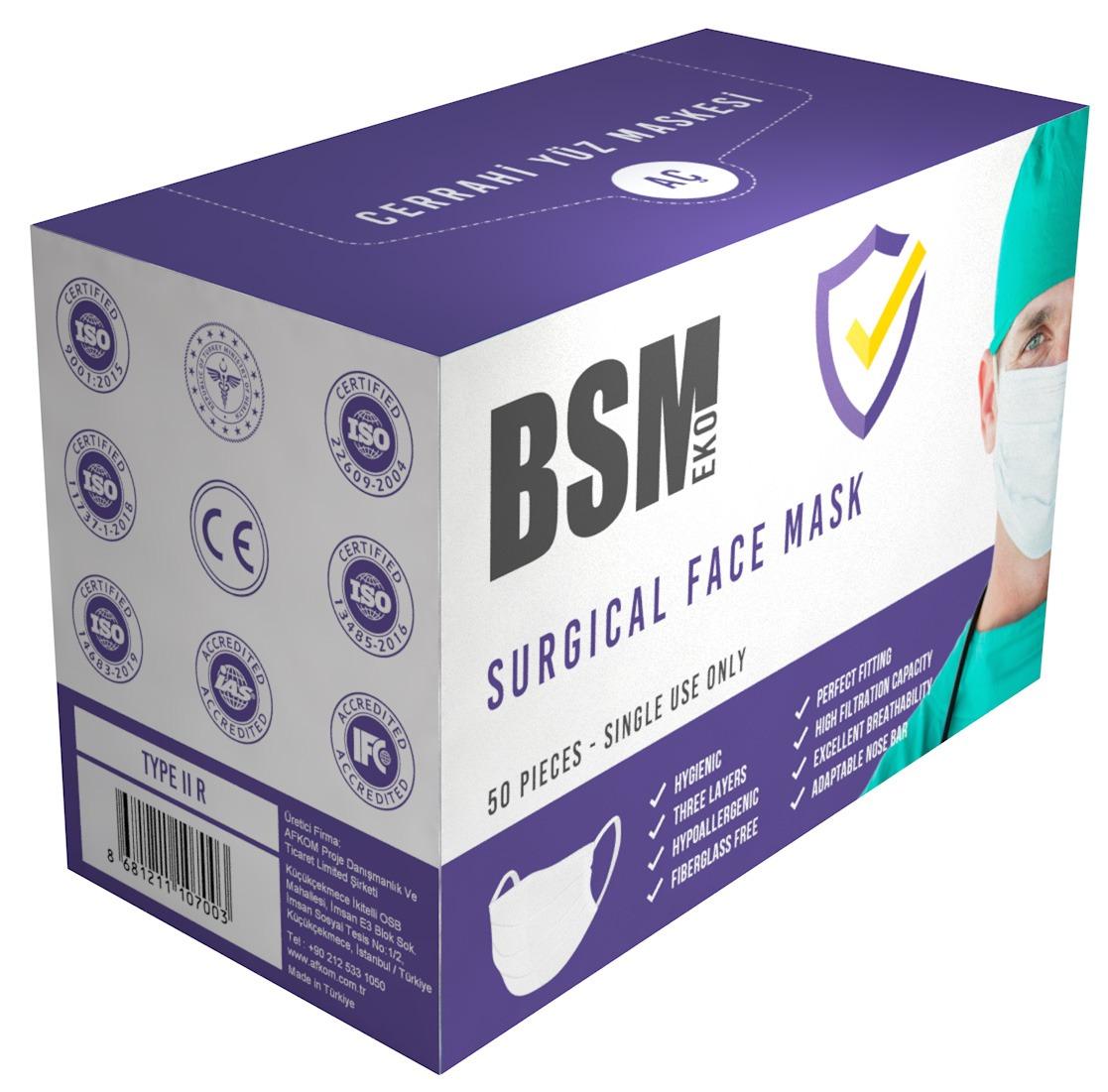 BSM EKO 3 Katlı Burun Telli Lastikli Cerrahi  Maske 1 Kutu 50'li