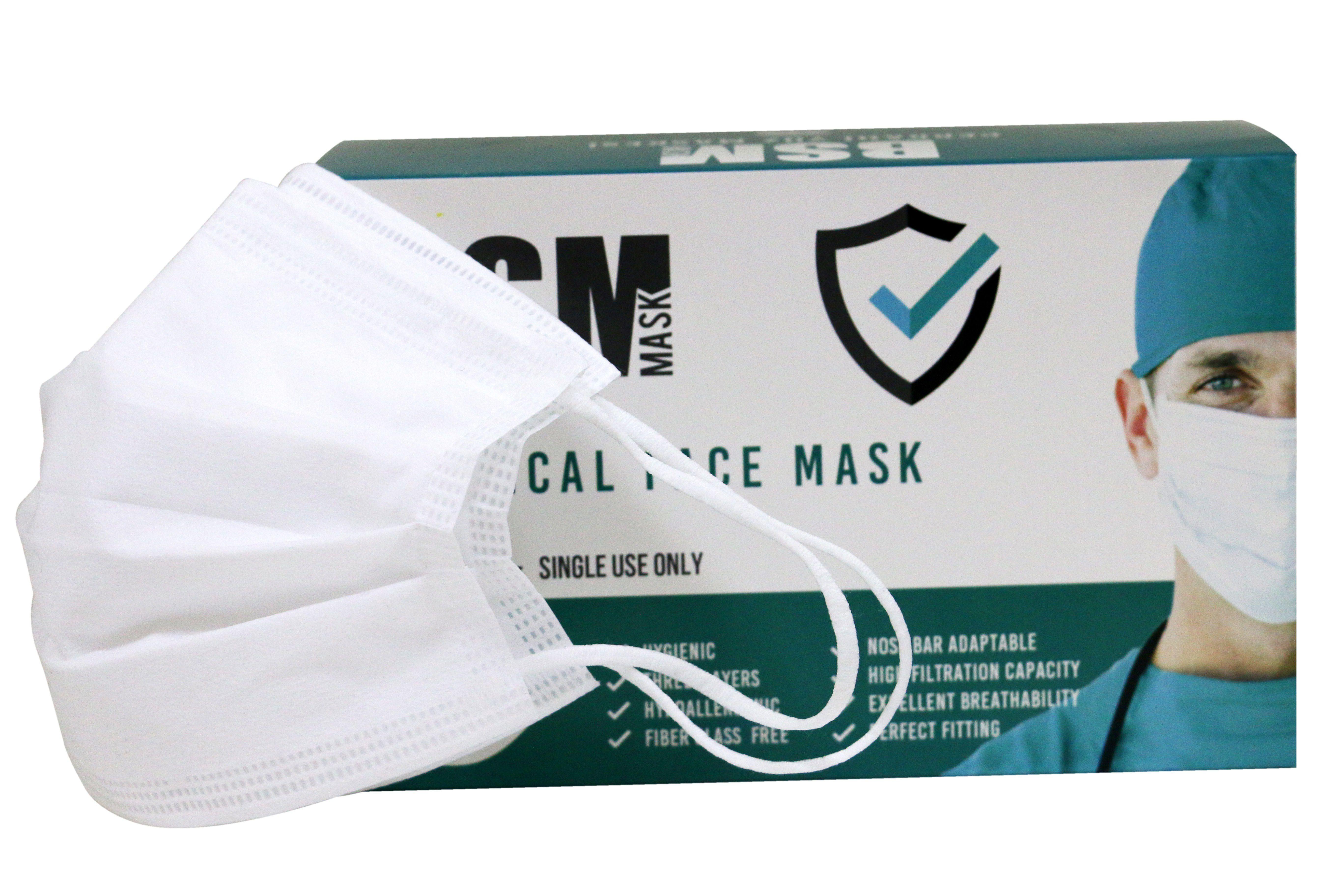 BSM Beyaz 3 Katlı  Yassı Lastikli Cerrahi Maske  Toplam 50 Adet
