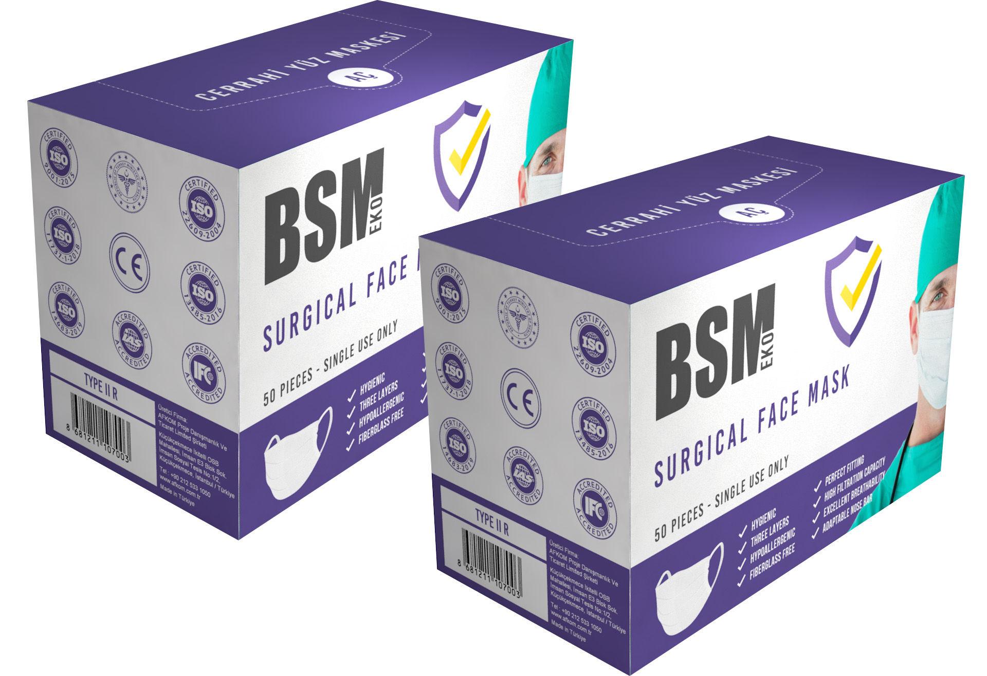 BSM EKO 3 Katlı Burun Telli Lastikli Cerrahi maske2 Kutu 100'Lü