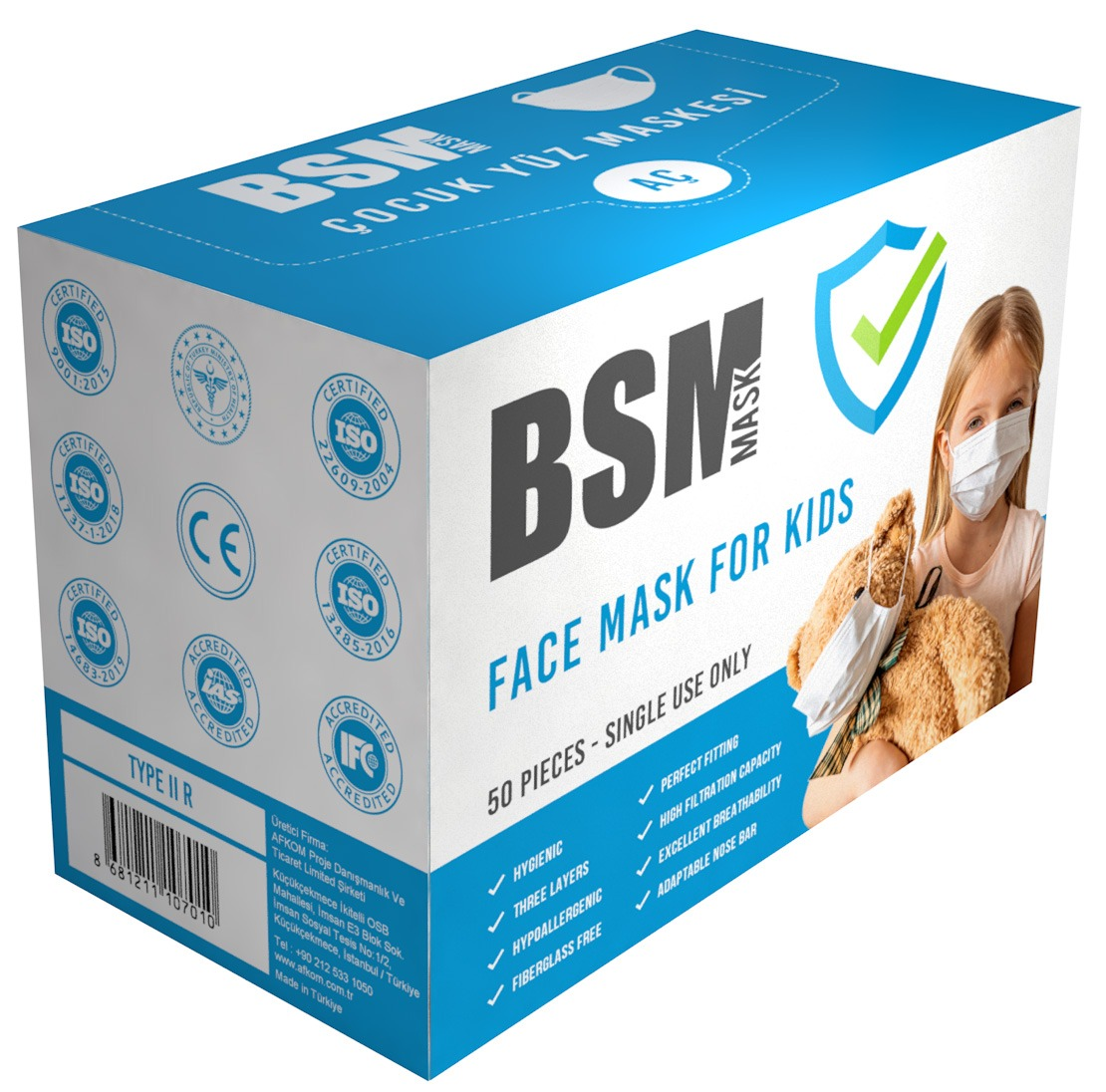 BSM 3 Katlı Burun Telli Lastikli Cerrahi Çocuk Maskesi 1 Kutu 50'li