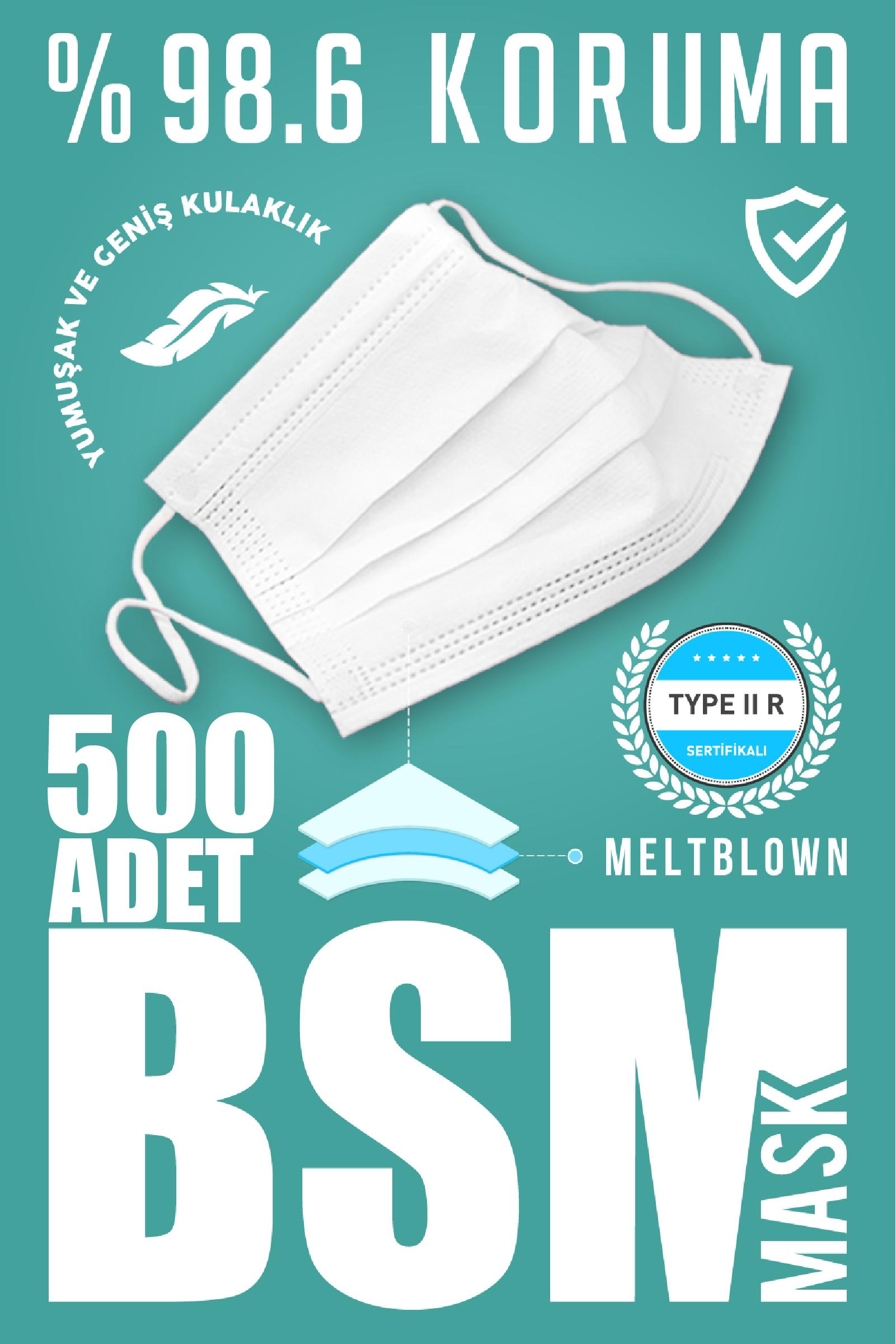 BSM 3 Katlı Yassı Lastikli MELTBLOWN Cerrahi Maske Toplam 500 Adet