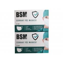 BSM 2 kutu 100 Adet Lastikli Burun Telli CE Belgeli Ultrasonik Gövde 3 Katlı Cerrahi Maske