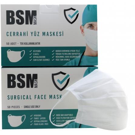 BSM BEYAZ 3 Katlı Yassı Lastikli MELTBLOWN Cerrahi Maske Toplam 100 Adet