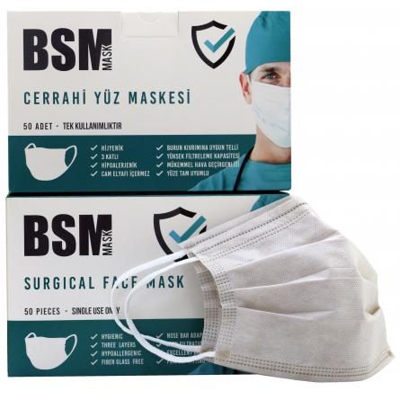 BSM Sütlü Kahverengi 3 Katlı Yassı Lastikli Cerrahi Maske Toplam 100 Adet