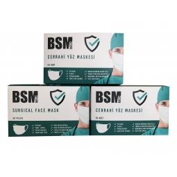 BSM MAVİ 3 Katlı  Yassı Lastikli MELTBLOWN Cerrahi Maske Toplam 150 Adet