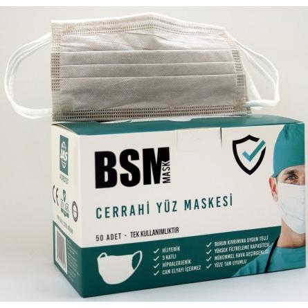 BSM Sütlü Kahverengi 3 Katlı Cerrahi Yassı Lastikli  Maske Toplam 50 Adet