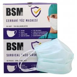 BSM EKO Yeşil (mint) Yassı Lastikli 3 Katlı Cerrahi Maske Toplam 100 Adet