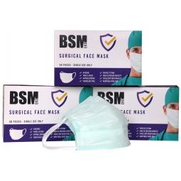 BSM EKO YEŞİL 3 Katlı Yassı Lastikli Cerrahi Maske Toplam 150 Adet