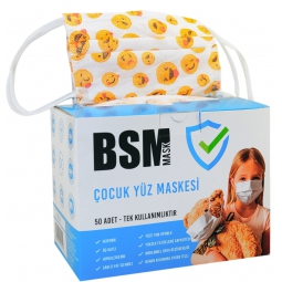 BSM Gülen Yüz Desenli Yassı lastikli 3 Katlı Cerrahi Çocuk Maskesi Toplam 50 Adet