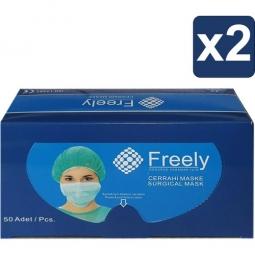 Freely 3 Kat Full Ultrasonic Cerrahi Yüz Maskesi 50 x 2 Adet