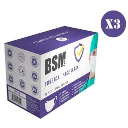 BSM EKO 3 Katlı Yassı Lastikli Cerrahi Maske Toplam 150 Adet