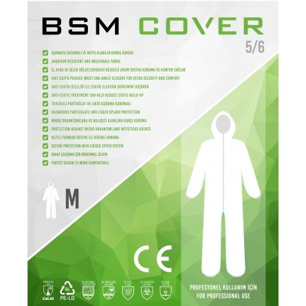 140 Gr BSM Cover Tek kullanımlık Bantlı Fermuarlı Kapşonlu Su Geçirmez Hava Alan Medikal Tulum 5 Adet
