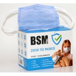 BSM Çocuk Mavi 3 Katlı Burun Telli Lastikli Cerrahi Maske 1 Kutu 50'li