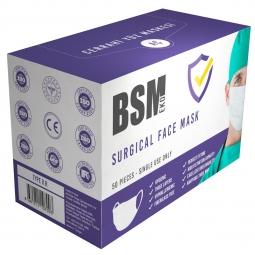 BSM EKO 3 Katlı  Yassı Lastikli Cerrahi Maske Toplam 50 Adet