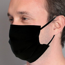BSM Relax SİYAH Yassı Lastikle Extra Konfor Cerrahi Maske Toplam 50 Adet