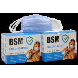 BSM MAVİ Yassı lastikli 3 Katlı Cerrahi Çocuk Maskesi  Toplam 100 Adet