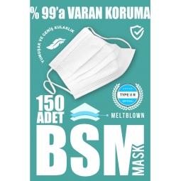 BSM 3 Katlı Yassı Lastikli Full Ultrasonik Cerrahi Maske Toplam 150 Adet