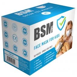 BSM 3 Katlı Yassı Lastikli Full Ultrasonik Cerrahi Çocuk Maskesi Toplam 50 Adet