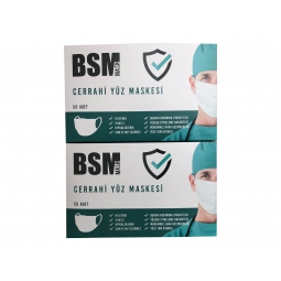 BSM 3 Katlı Yassı Lastikli Full Ultrasonik Cerrahi Maske Toplam 100 Adet