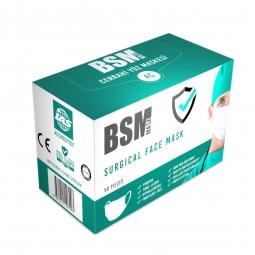 BSM 3 Katlı Yassı Lastikli Full Ultrasonik MELTBLOWN Cerrahi Maske Toplam 50 Adet