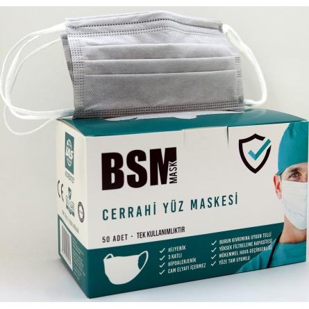 BSM Gri 3 Katlı Yassı Lastikli Cerrahi Maske Toplam  50 Adet