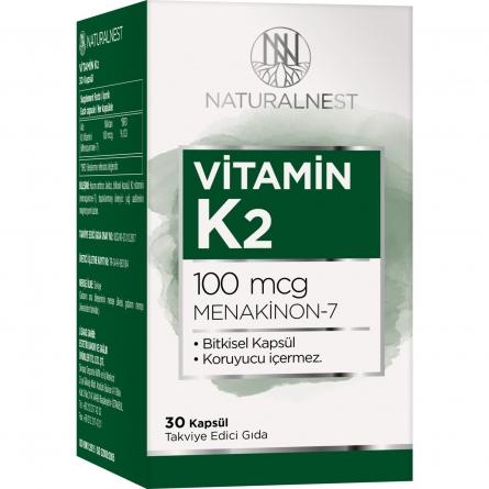 NaturalNest Vitamin K2 Menaquinone 7 İçeren Takviye Edici Gıda 30 Kapsül