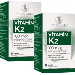 NaturalNest Vitamin K2 Menaquinone 7 İçeren Takviye Edici Gıda 30 Kapsül 2Kutu