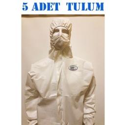 140 Gr Polly Cover Tek kullanımlık Bantlı Fermuarlı Kapşonlu Su Geçirmez Hava Alan Medikal Tulum 5 Adet