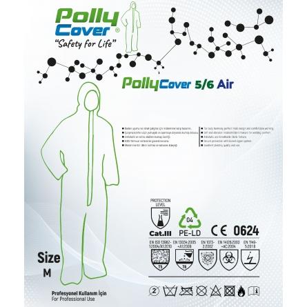 140 Gr Polly Cover Tek kullanımlık Bantlı Fermuarlı Kapşonlu Su Geçirmez Hava Alan Medikal Tulum