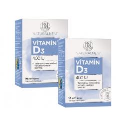 NaturalNest Vitamin D3 400 IU 10 ml Sprey 2 Kutu