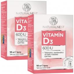 NaturalNest Vitamin D3 600 IU 10 ml Sprey 2 Kutu