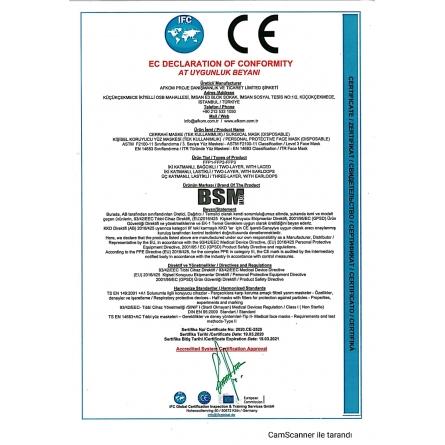 BSM 3 kutu 150 Adet Lastikli Burun Telli CE Belgeli Ultrasonik Gövde 3 Katlı Cerrahi Maske