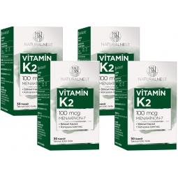 NaturalNest Vitamin K2 Menaquinone 7 İçeren Takviye Edici Gıda 30 Kapsül 4Kutu