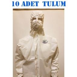 140 Gr Polly Cover Tek kullanımlık Bantlı Fermuarlı Kapşonlu Su Geçirmez Hava Alan Medikal Tulum 10 Adet