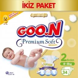 Goon Bebek Bezi Premium Soft Yenidoğan 2 Beden Ekonomik Paket 34 Adet